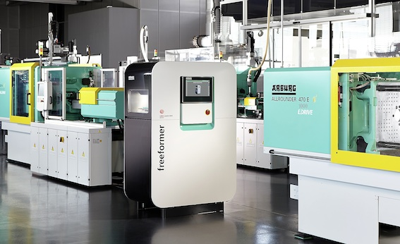 Arburg demonstrated the latest advances in the production of plastic parts, like 3D printing and the PCIM process (Particle-foam Composite Injection Moulding)